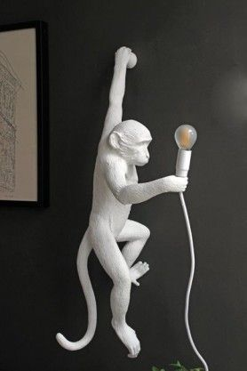 Hanging White Monkey Wall Lamp