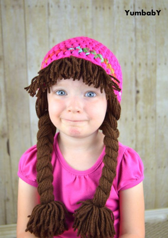 Cabbage patch inspired baby hat • Handmade with 100% acrylic yarn • Pigtail  beanie with bangs • Yarn doubled for extra warmth and durability • SUPER ... 2756d23fc00