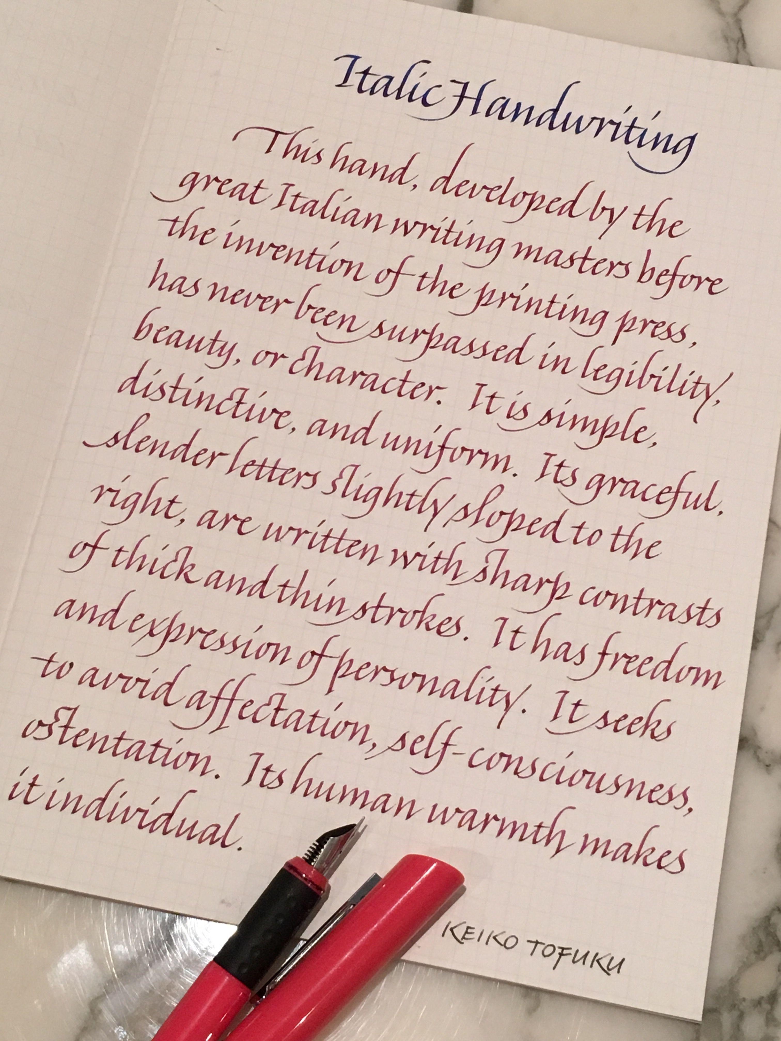 About Italic Handwriting