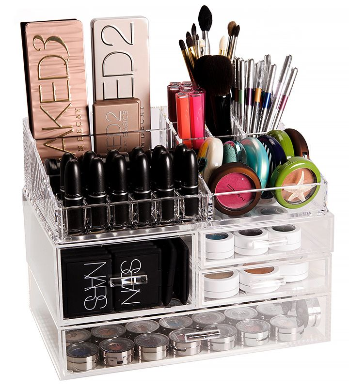 The Container Store Luxe Acrylic Modular System Makeup Organizer Review Photos Makeup Organization Makeup Organization Diy Makeup Storage