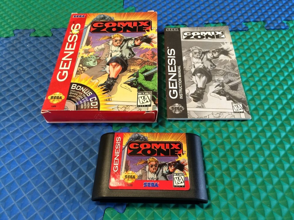works perfect sega genesis system comix zone game cart box manual rh pinterest com Xbox Video Games Popular Video Game Backgrounds