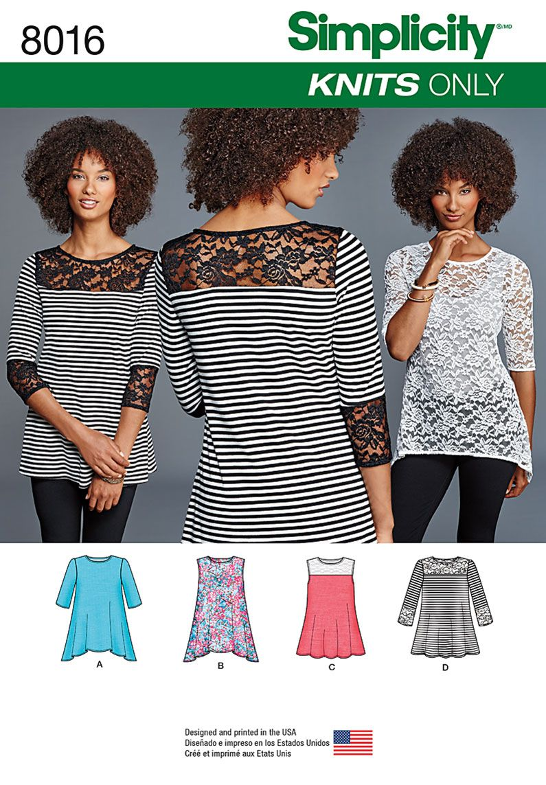 Simplicity 8016 Misses\' Knit Tops with Lace Variations | Sewing ...