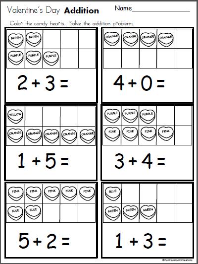 Valentine S Day Addition Made By Teachers Kindergarten Valentines Kindergarten Addition Worksheets Kindergarten Math Activities