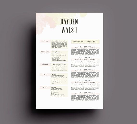 Résumé 4pk by arjoandlei on Etsy It comes with u2022 guide u2022 resume - reference page template