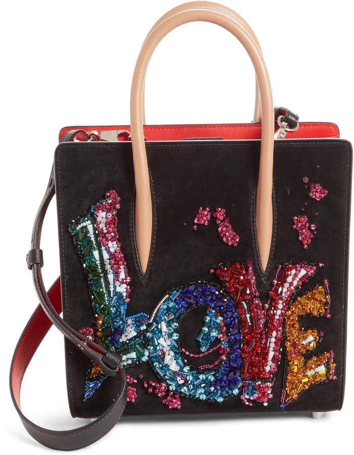 957bd5025db Christian Louboutin Small Paloma Love Beaded Leather Tote   Products ...