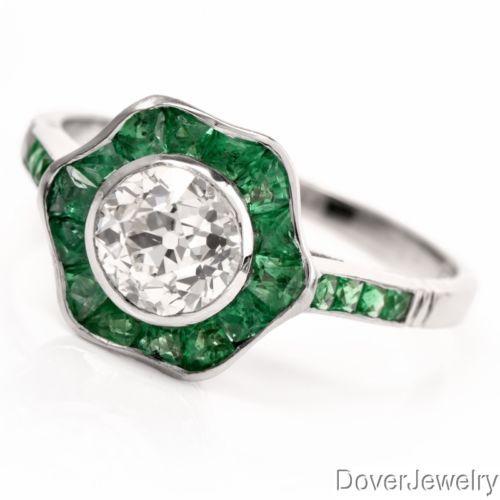 Estate 1.96ct Diamond Emerald Platinum Engagement Ring NR https://t.co/epsO3eq7E8 https://t.co/dtk77g9AnY