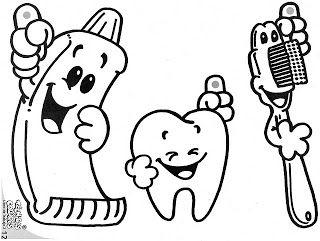 Lavarse los dientes: Dibujos para imprimir y colorear   primaria