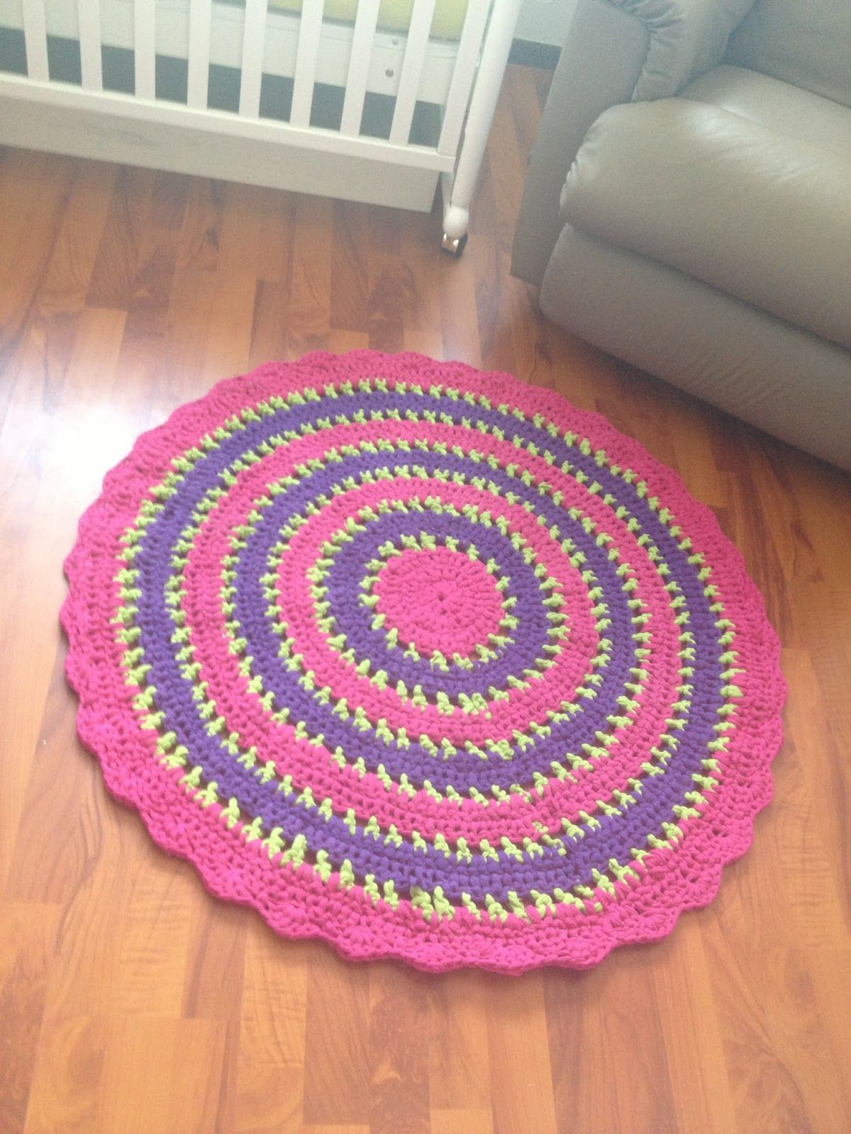 A Crocheted Rug Made From Five Twin Size Jersey Sheets I