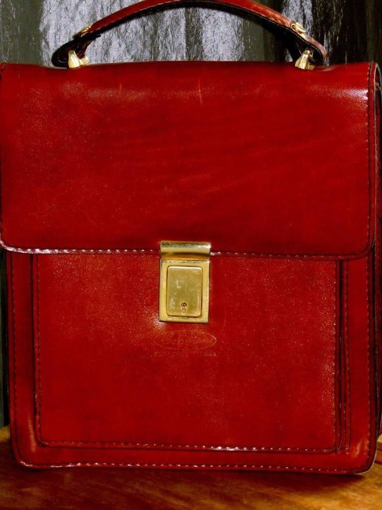 Caggiano Florence Italy Vintage Leather Tote Bag Briefcase Collectors Dream 1960 Totebriefcase