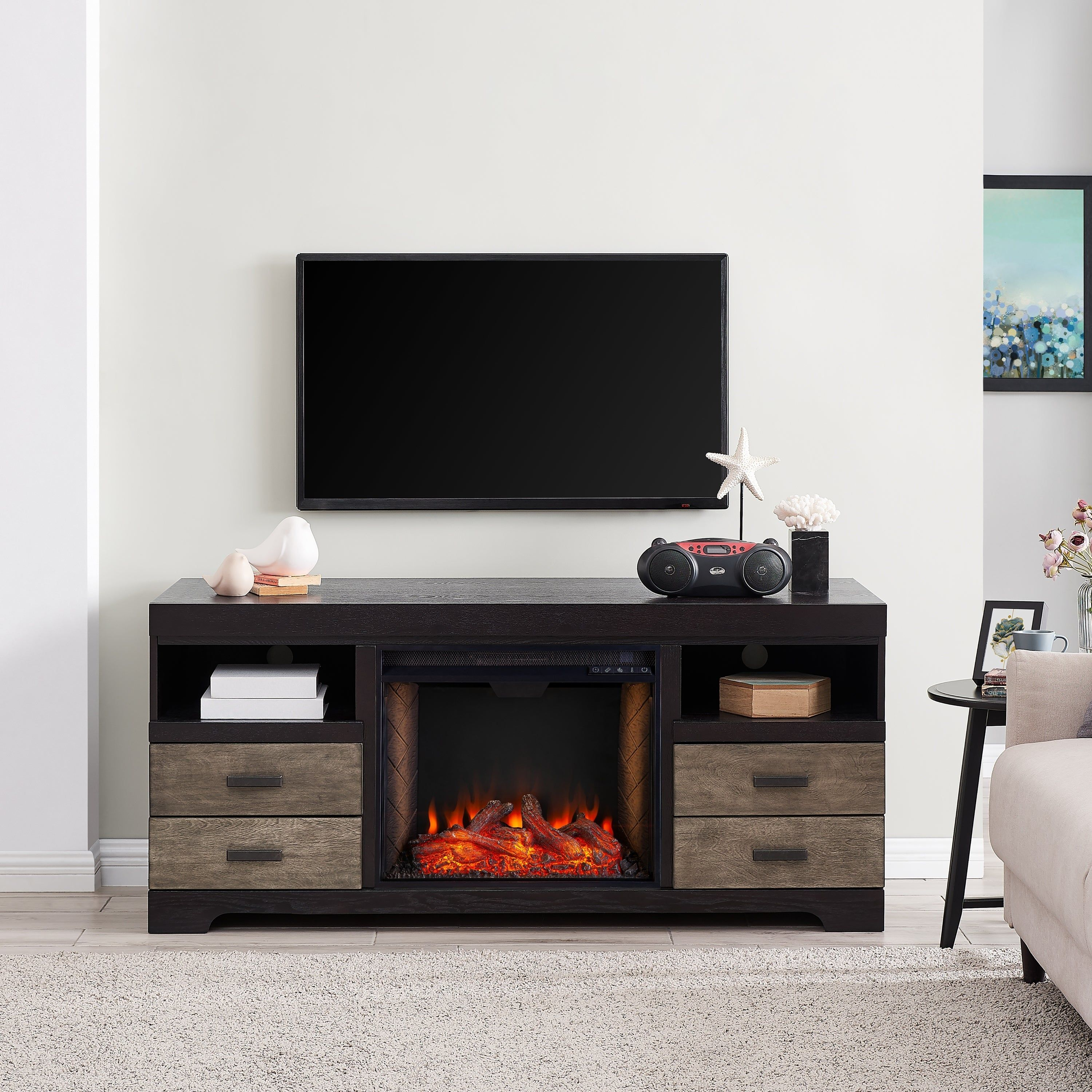 Harper Blvd Shawn Traditional Brown Alexa Enabled Fireplace Media Console Black Manufactured Wood Fireplace Media Console Media Electric Fireplace Living Room Tv