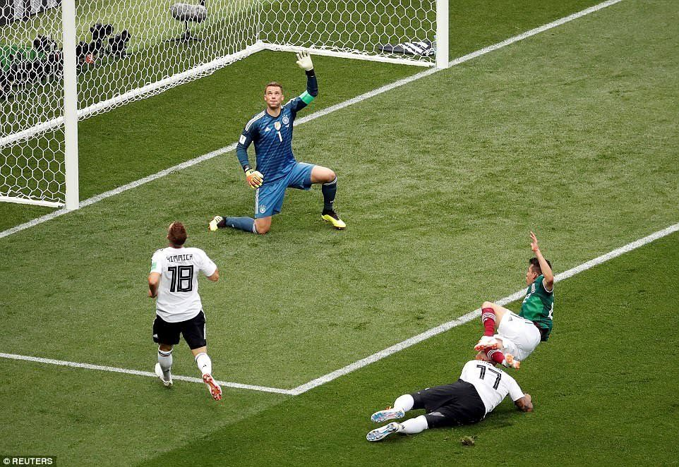 Germany 0 Mexico 1 in 2018 in Moscow. Edson Alvarez puts