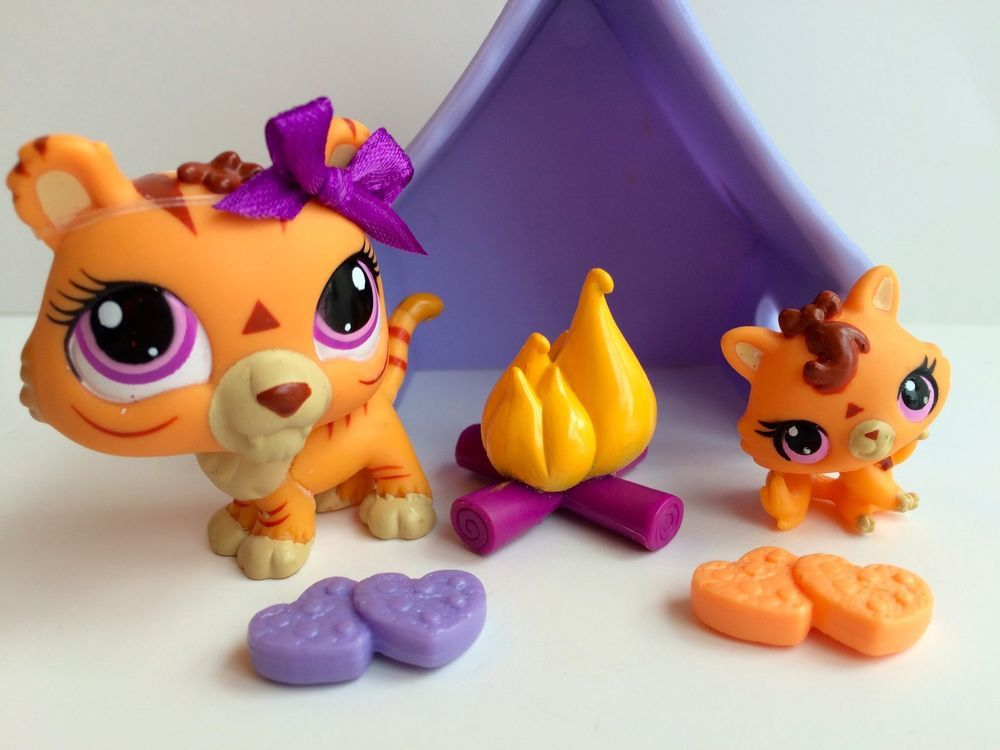 Littlest pet shop new mommy baby tigers 3593 3594 w accessories hasbro littlest pet - Petshop tigre ...