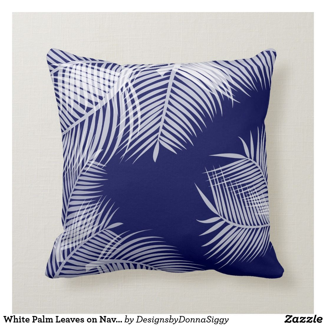 Tropical Leaves Blue Outdoor Pillow