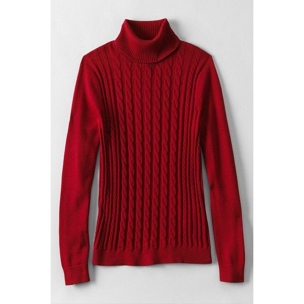 Lands' End Women's Tall Cotton Cable Turtleneck Sweater ($99 ...