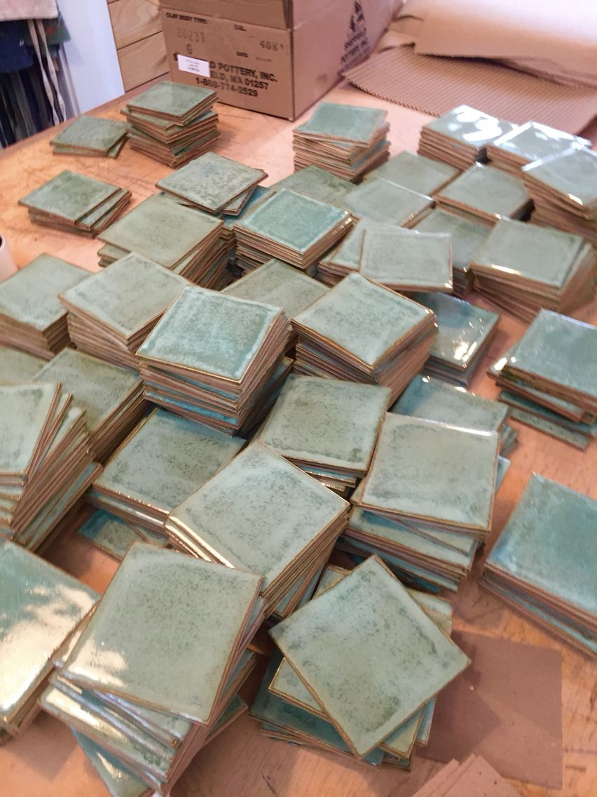 Packing up a few thousand green tiles for a new restaurant install in NYC