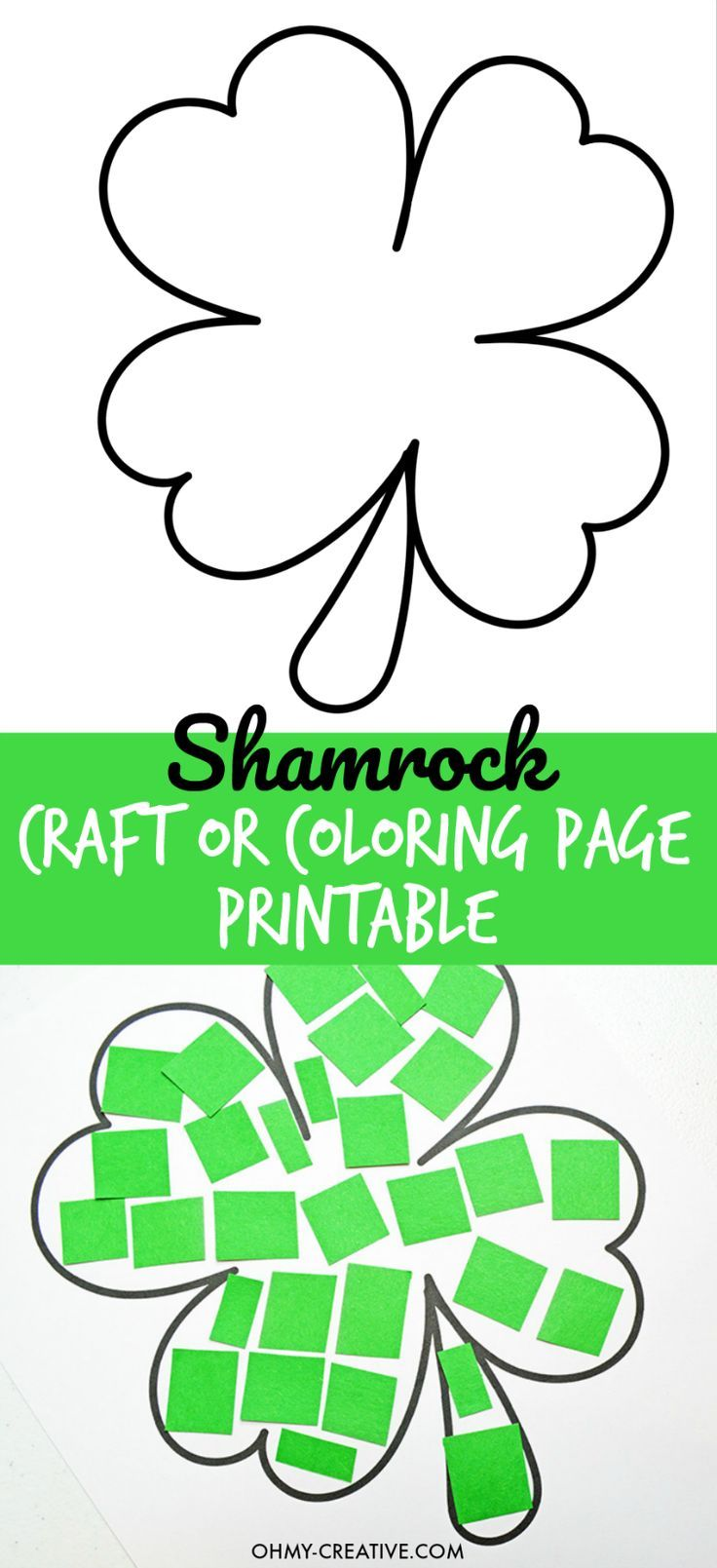 Cut And Paste Shamrock Template or Coloring Page | Shamrock template ...