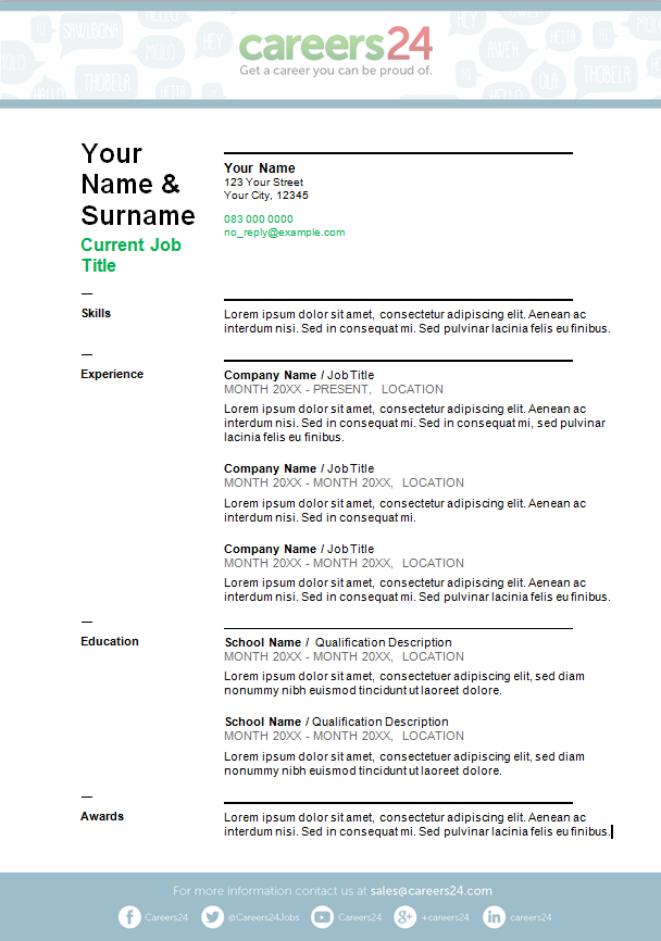 1 Page Cv Template South Africa Resume Format Simple Cv Template Cv Template Simple Cv