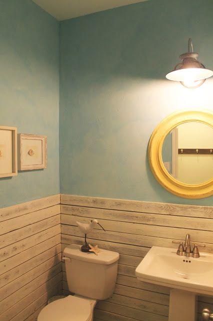 Powder Bathroom Makeover Beach Themed Reclaimed Wood Wall Blue Plaster Faux Finish The Ragged Wren Vannaya V Plyazhnom Stile Peredelka Vannoj Komnaty I Rekonstrukciya Vannoj