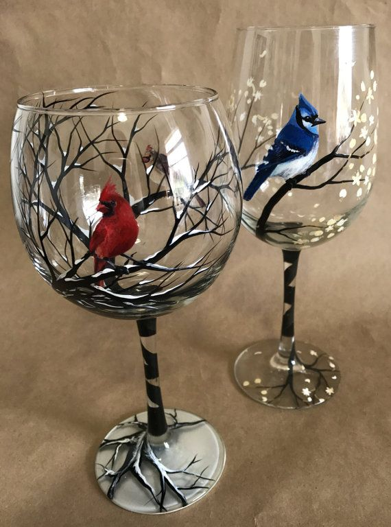 BlueJay Wine Glass Hand Painted Collectible Stylish Bird Spring Glassware Flowering Tree Branches Unique Mother's Day Gift Idea Easter Art (en anglais)