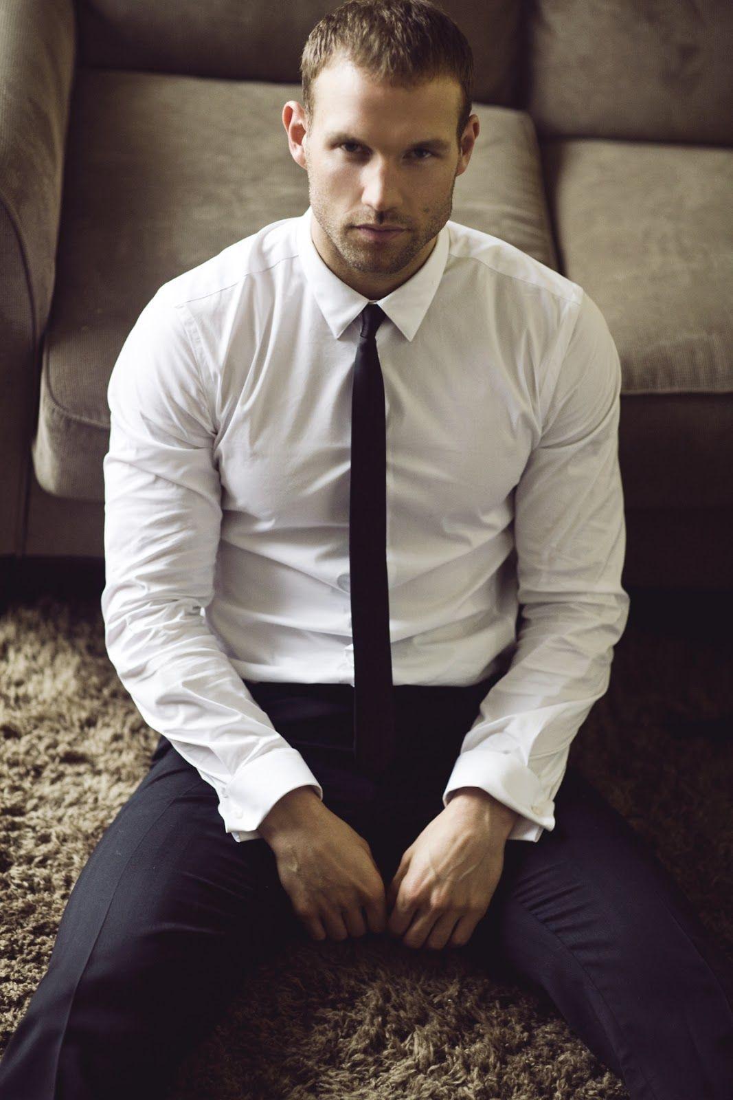 Lucas Kerr By Michael Brager White Shirt Black Skinny Tie