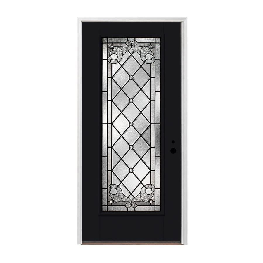 Pella Left Hand Inswing Painted Fiberglass Entry Door With