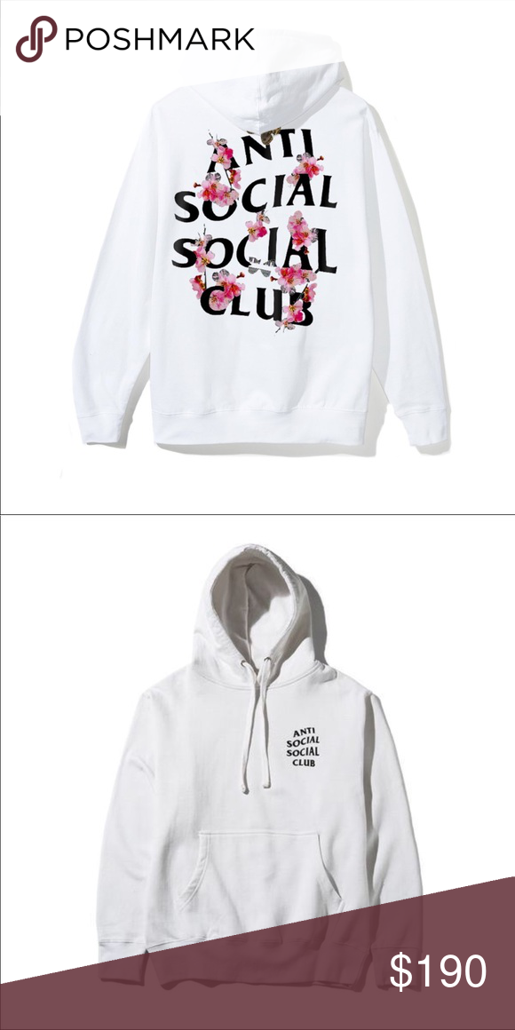 c49debbc7156 Brand new anti social Kkoch White Hoody Loose fit Kkoch White Hoody with  Small Front Hit  Big Floral Logo Back Hit Kkoch   Means Flower in Korean  100% ...