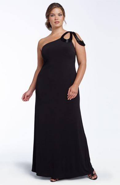 Plus Size Black One Shoulder Dress New Years Style