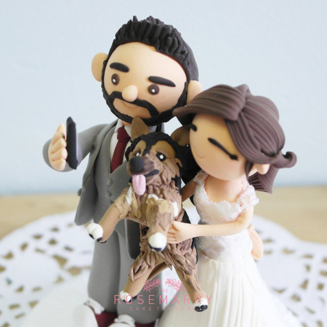 Selfie cake topper with dog by the rosemarry toppers cake toppers