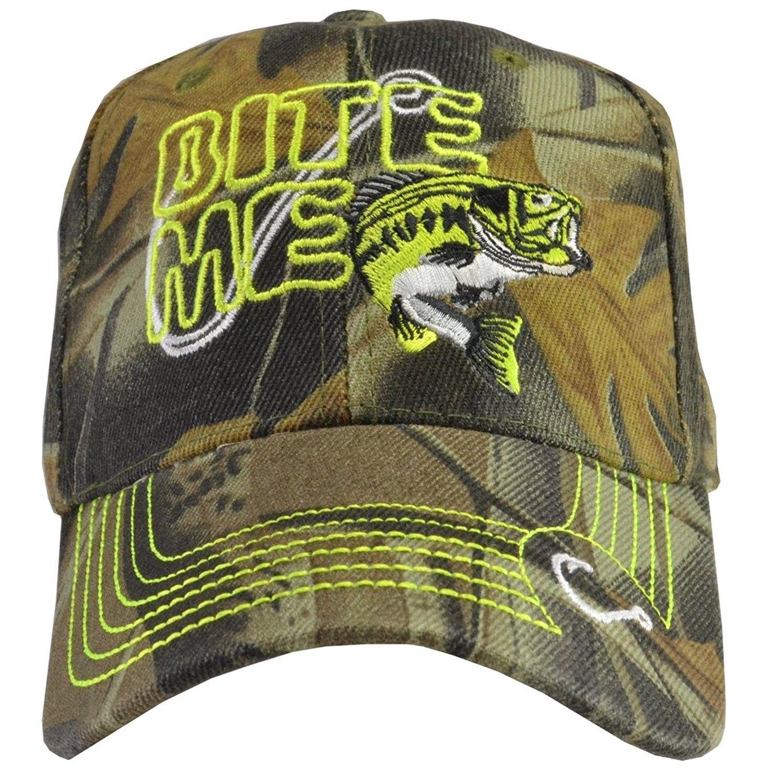 0fd1cb35f9c Outdoors Sports Hats (6 Styles) Fishing- Hunting - Bite Me Bass Camo -  CS17YZ0HTAU - Hats   Caps