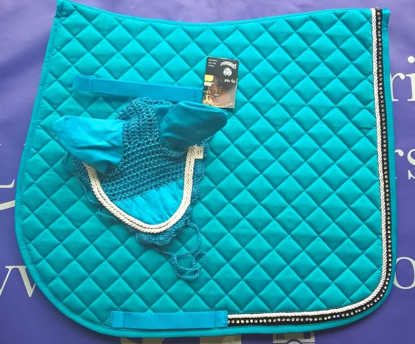Elite Turquoise Saddle Pad And Ear Bonnet Set Equestyle Saddle Pads English Saddle Pads Horse Equipment