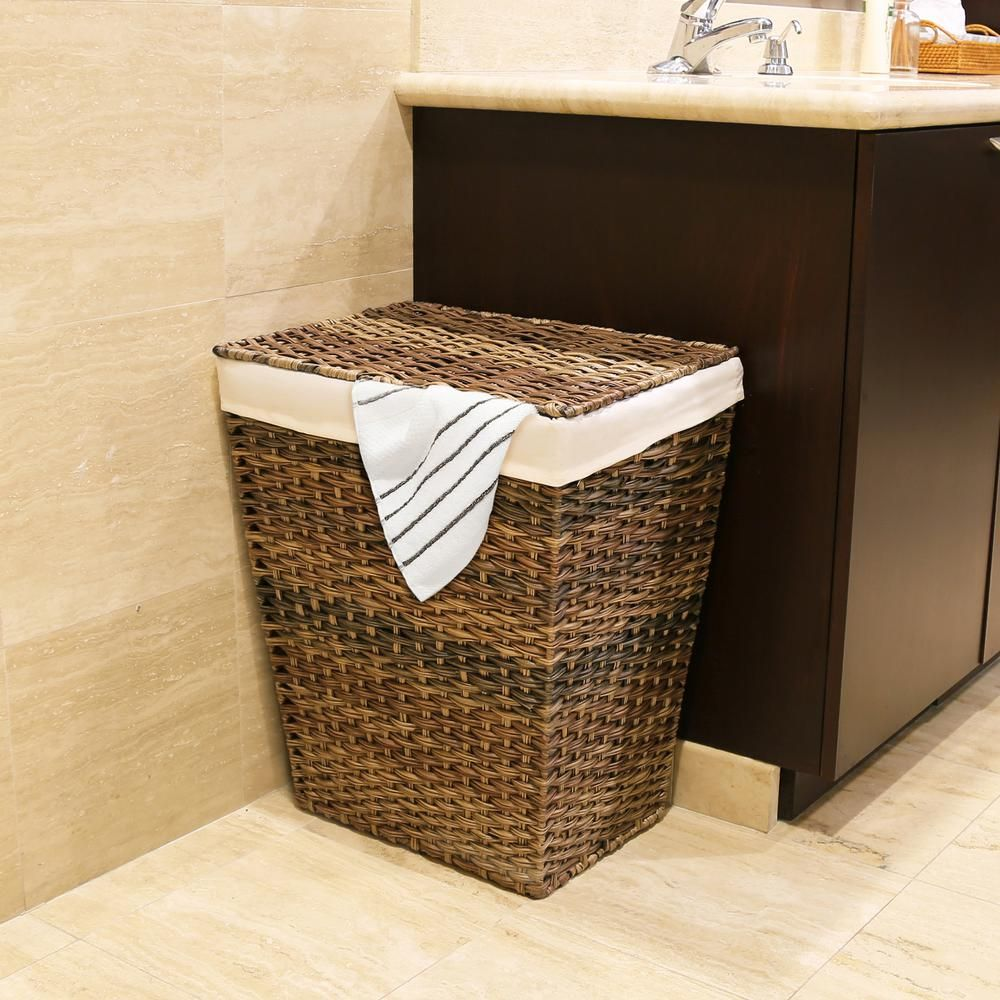 Handwoven Lidded Laundry Hamper With Canvas Liner Brown Laundry