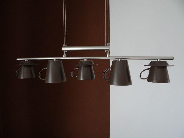 Hängelampen - Design LED Tassenlampe 5 flammig matt braun - ein Designerstück von TassenLicht bei DaWanda