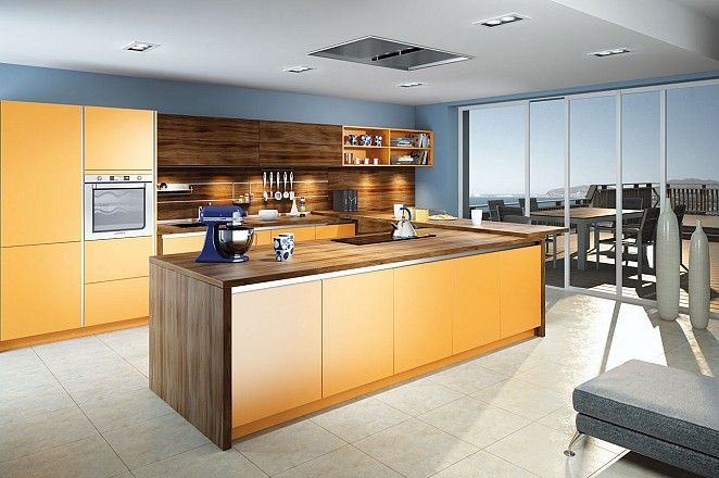 Geel De Keuken : Moderne keuken in greeploos geel met houtaccenten. collectie 2015