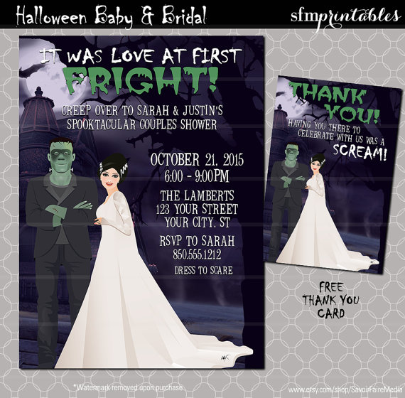 Spooktacular Halloween Wedding Invitations Couple shower Couples