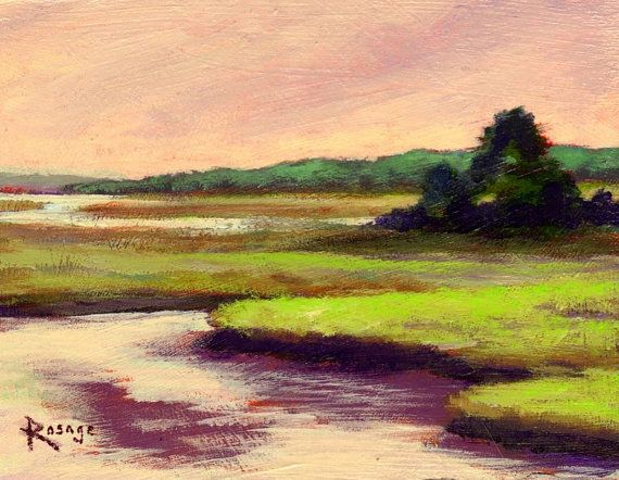 "NC Coastal Scene... ""Low Tide on the Sound Side""... Original Daily by Bernie Rosage Jr."