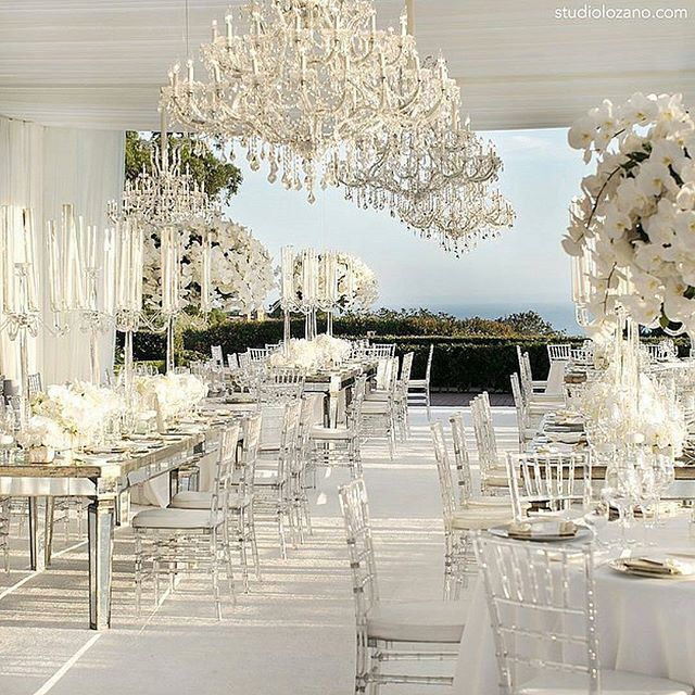 stunning elegance with this all white decor and mirrored accents