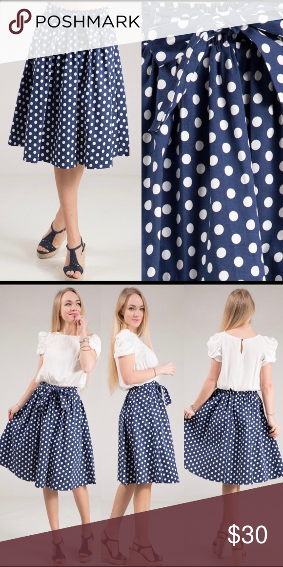 "813eefd3b5b Navy Blue with white polka dot skirt Navy blue Circle Skirt with White Polka  Dots 97% Polyester 3% Spandex Elastic waistband provides some stretch S -  13"" ..."