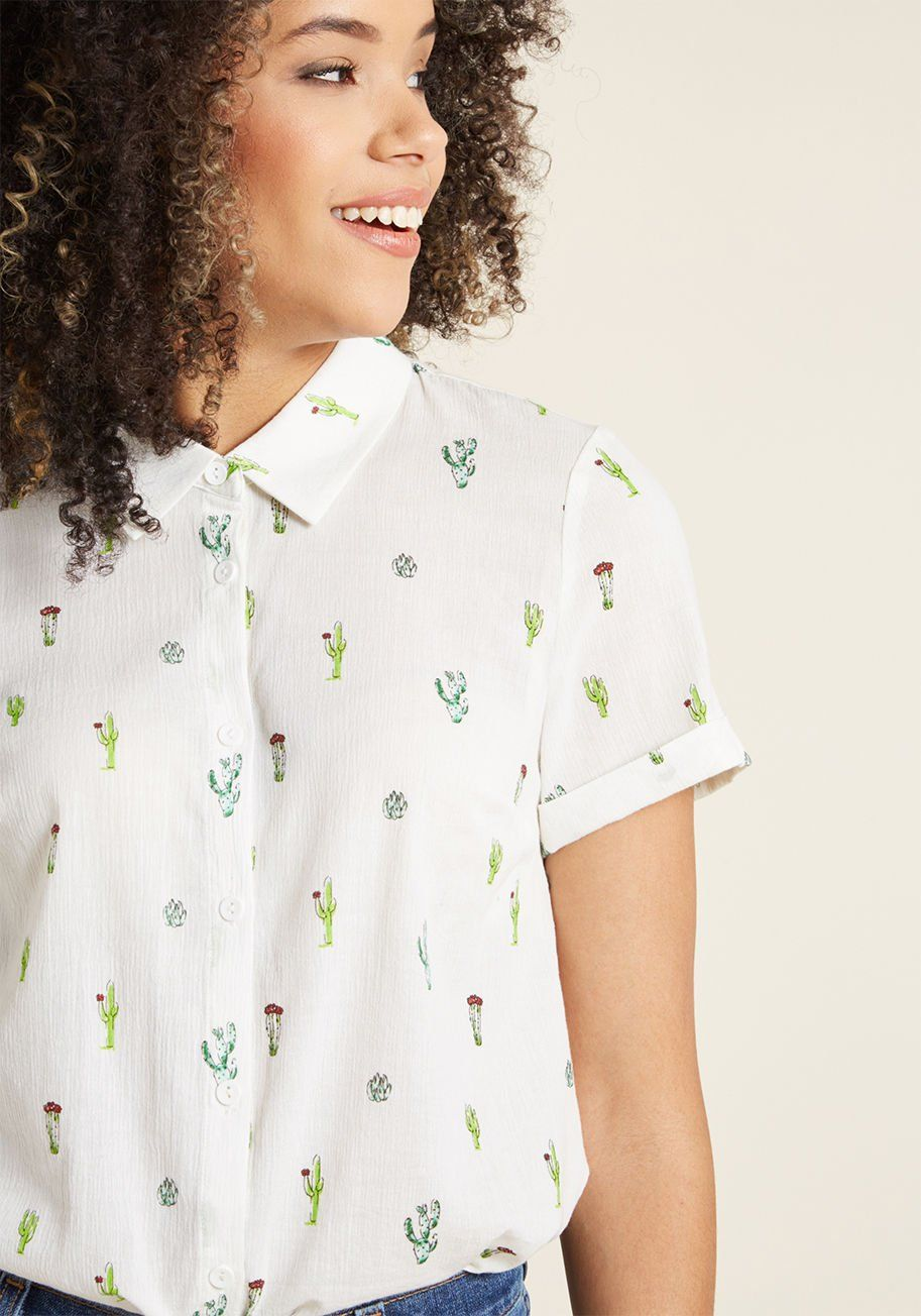 5a7b2098d69 Inspired Idealist Button-Up Top - What a joy it is to discover a blouse so  brilliant