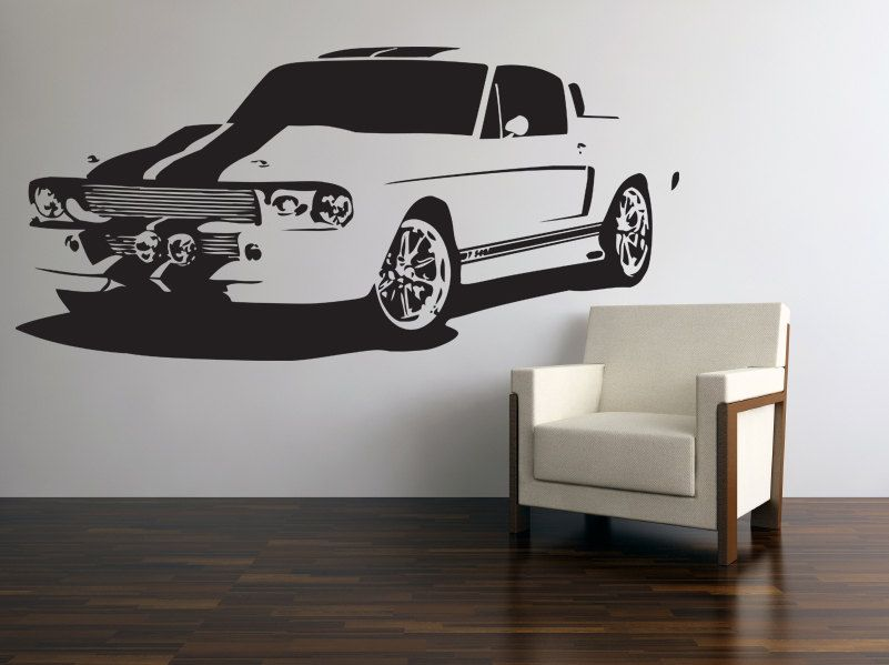 Vinyl Wall Decal Classic American Muscle Car 60s Ford ...