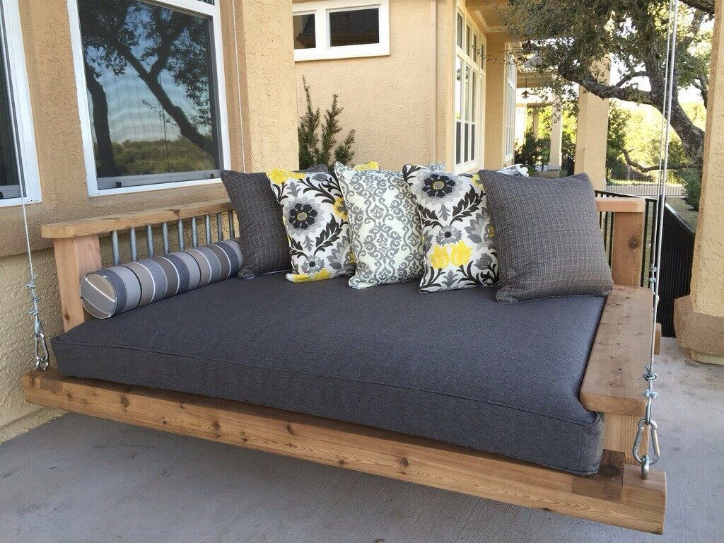 Porch Swing Bed Chaise Lounge Chair Outdoor Furniture Southern