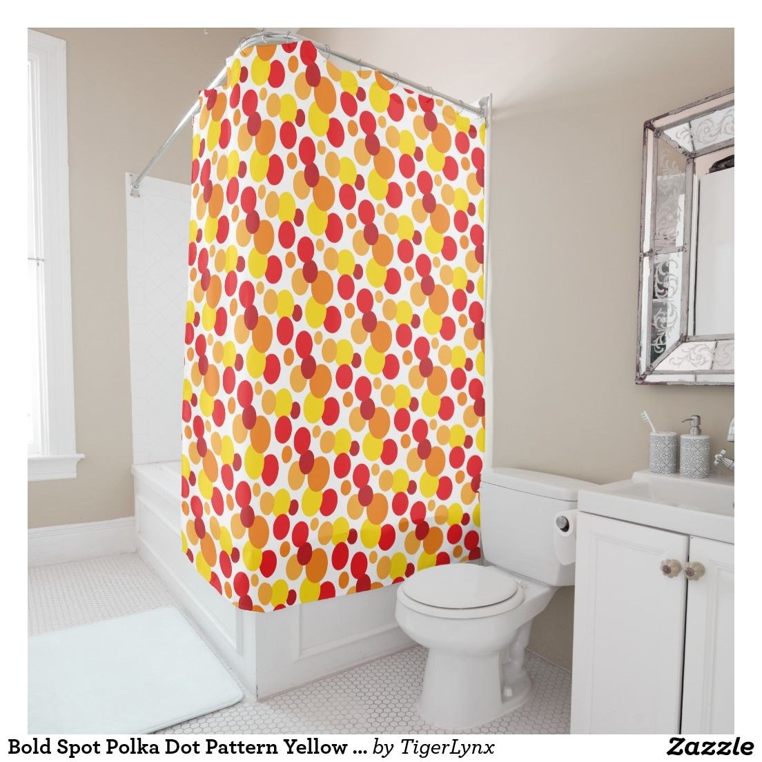 Bold Spot Polka Dot Pattern Yellow Orange Red Shower Curtain By Tigerlynx From Zazzle