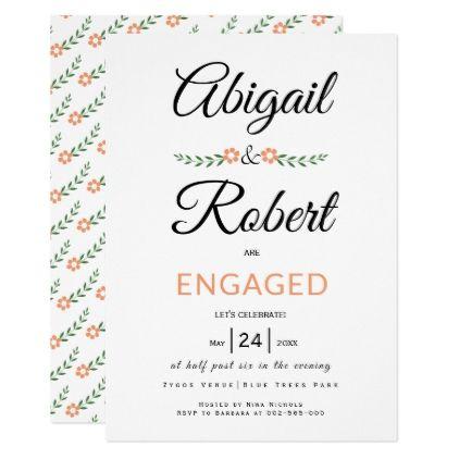 Handwritten typography peach flowers engagement invitation - engagement card template