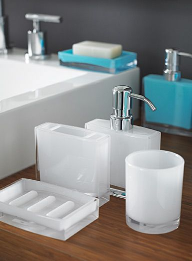 exclusively from simons maison stylish bathroom accessories that combine coloured and transparent sturdy acrylic