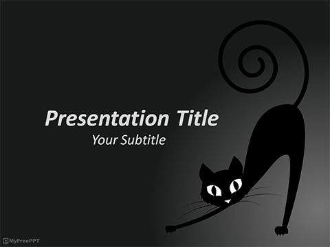 Free Halloween Cat Powerpoint Template  Powerpoint