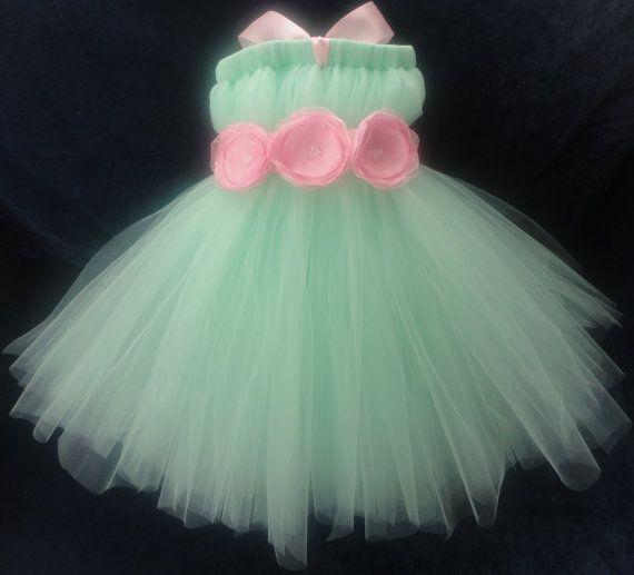 Mint Flower Girl Dress by StrawberrieRose on Etsy, $89.95