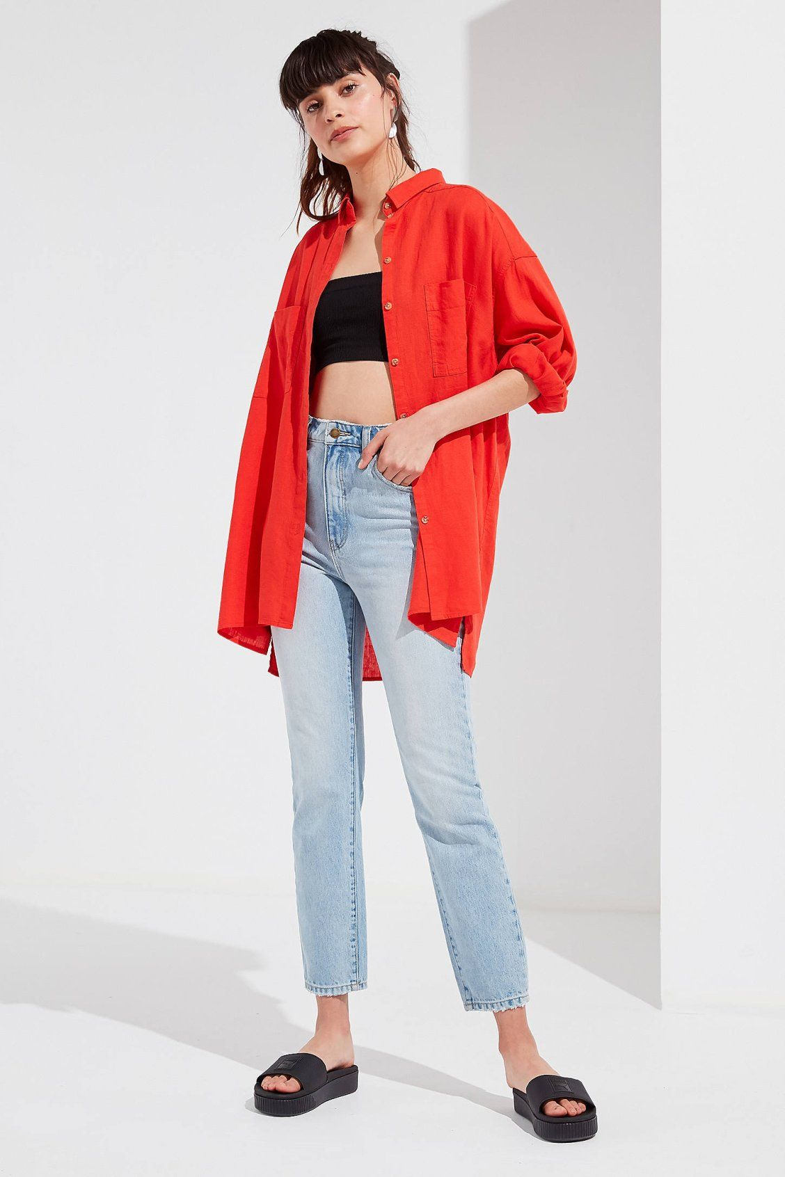 b54c9994 UO Gracie Oversized Linen Button-Down Shirt | Urban Outfitters