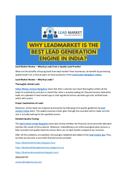 What Are The Benefits Of Buying Leads From Lead Market How