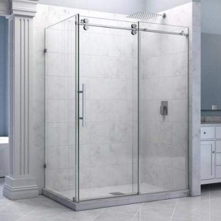 Dreamline Enigma 36 By 60 1 2 Fully Frameless Sliding Shower Enclosure Clearlass Shower Polished Stainless Steel Finish Frameless Sliding Shower Doors Frameless Shower Enclosures Shower Doors