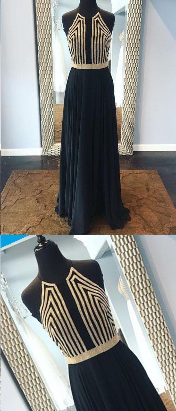 Black prom dresses aline beautiful chiffon long prom dress sexy