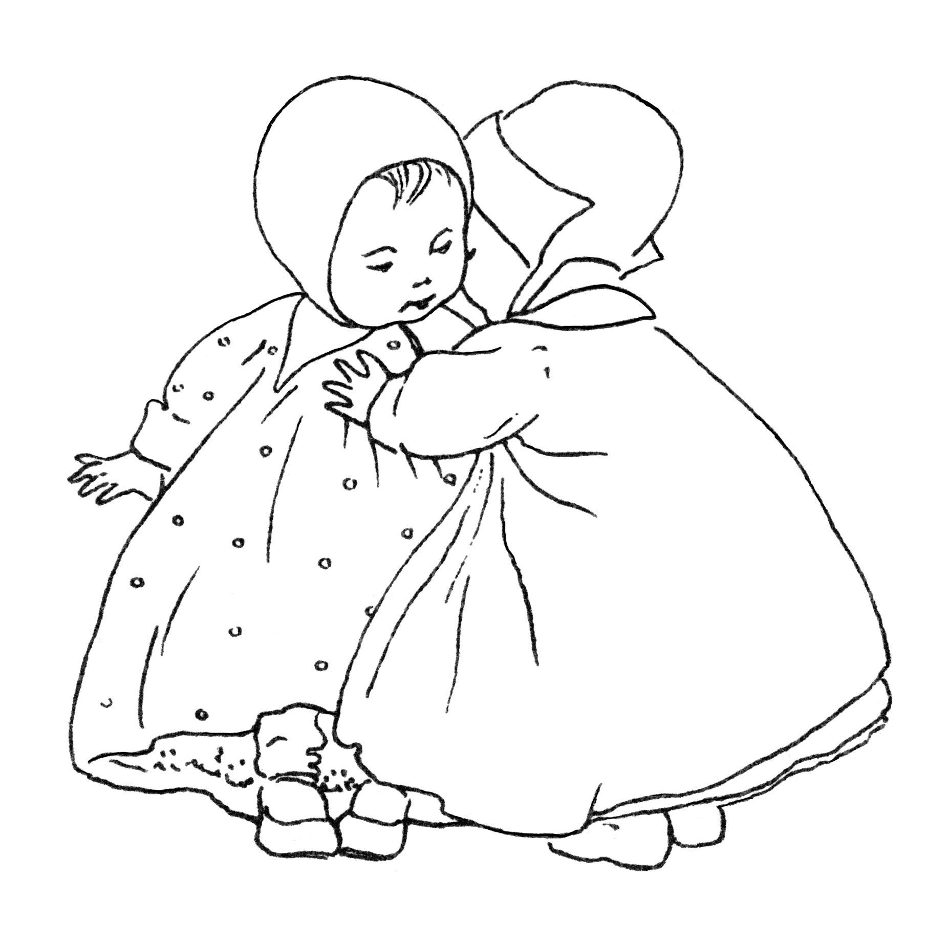 Baby Clip Art Black And White Clipart Vintage Children Image Baby Girl Illustration Little G Baby Clip Art Embroidery Designs Baby Embroidery And Stitching